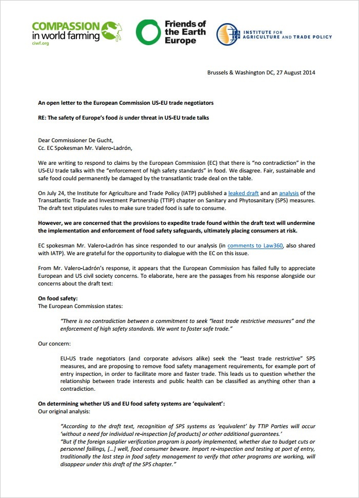 Letter To Cssr De Gucht - Safety Of Europe Food Is Under Threat